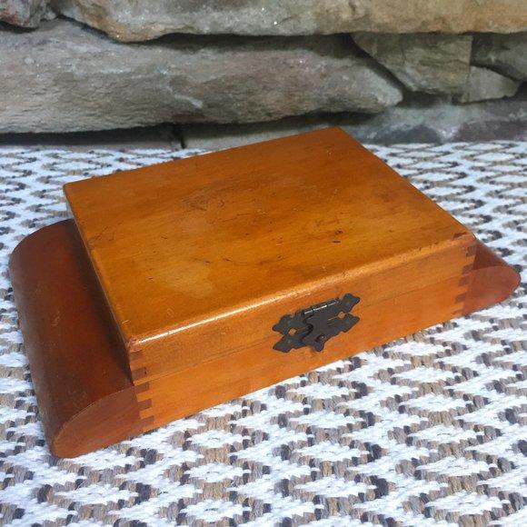 VTG Wood Unisex Jewelry Art Deco Trinket Box
